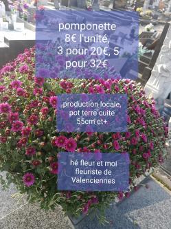 Pomponette Toussaint Valenciennes fleuriste cimetière nord