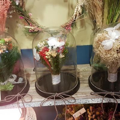 Bouquet de fleurs sèchées sous cloche