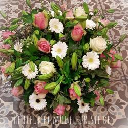Coussin rond  deuil Hé fleur et moi fleuriste Valenciennes