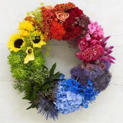 Cercle chromatique couronne fleurs Valennciennes deuil