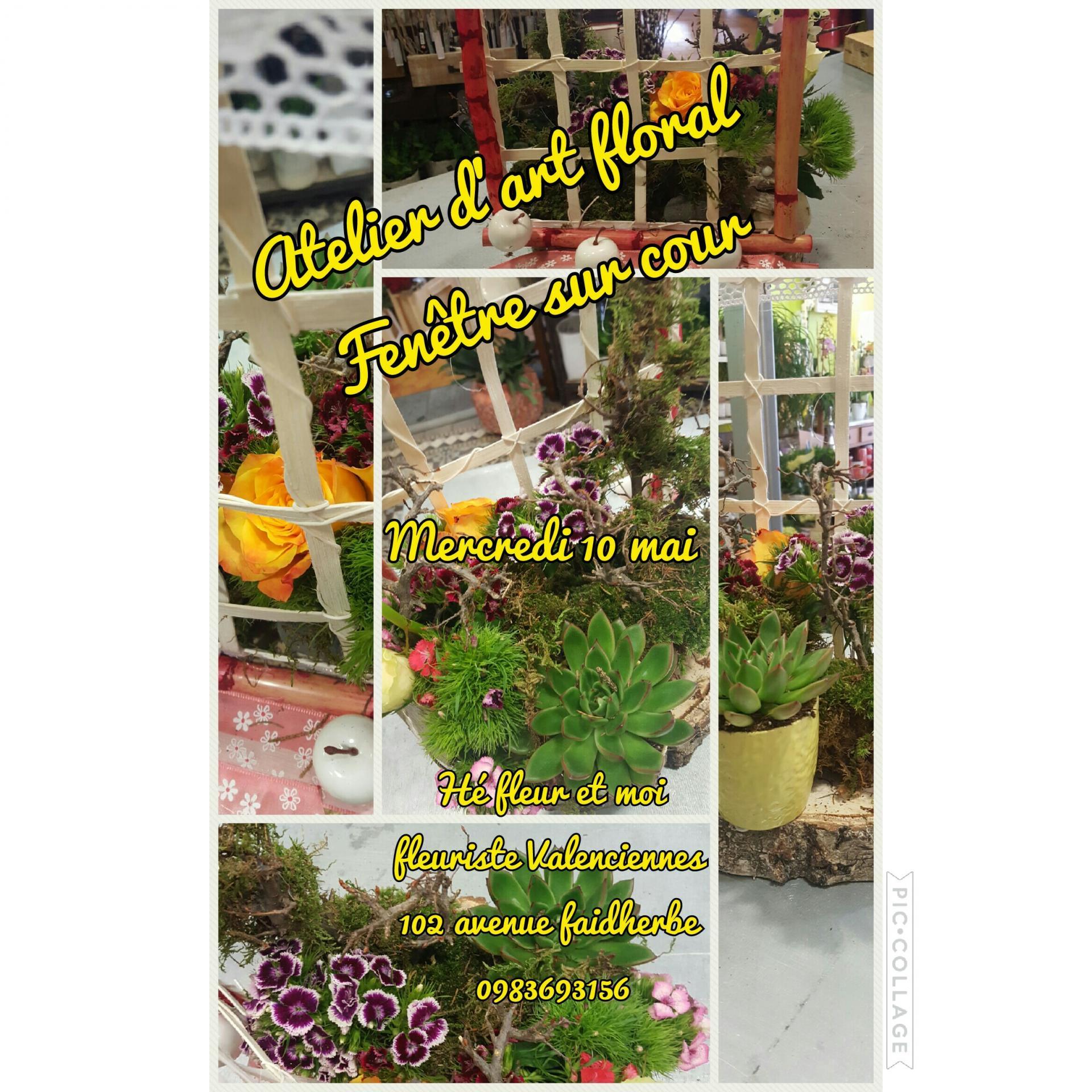 Atelier d'art floral Fenêtre sur cour le mercredi 10 mai by Hé fleur et moi fleuriste #Valenciennes 0983693156 inscription en magasin #artfloral #fleuriste