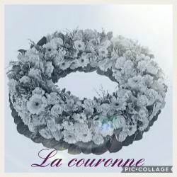 Couronne deuil Hé fleur et moi fleuriste valenciennes fleurs Denain Saint Amand le quesnoy
