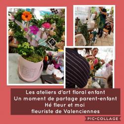 Les ateliers d'art floral chez hé fleur et moi fleuriste de Valenciennes des moments de partage avec parent et enfant sympathiques, ludiques et floraux... chez votre artisan fleuri