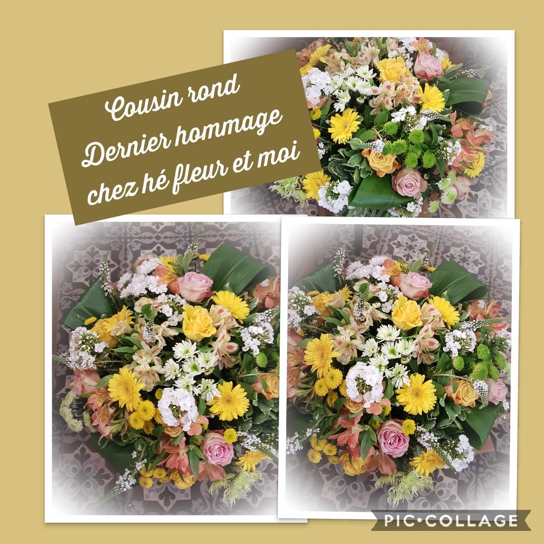 Coussin deuil Hé fleur et moi fleuriste de Valenciennes enterrement gerbe