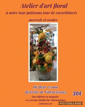 Atelier art floral tour de cucurbitacés Fleuriste Hé Fleur et moi Valenciennes