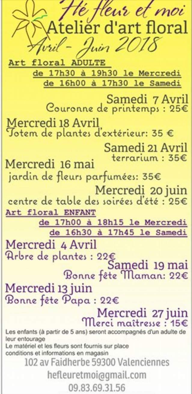 planning art floral adulte et enfant avril à juin chez hé fleur et moi Valenciennes fleuriste Ne tardez pas à réserver Au 0983693156 Au 102 avenue Faidherbe Valenciennes  hefleuret