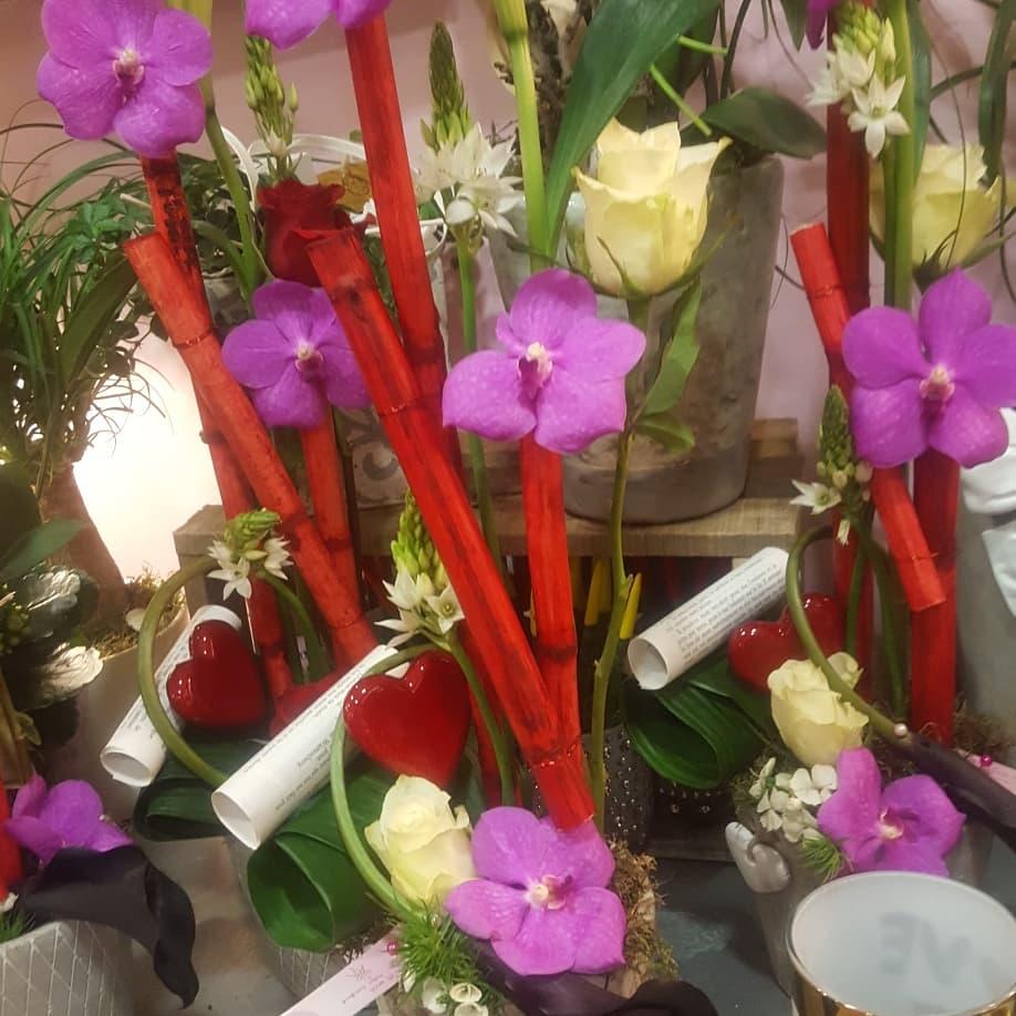 Saint Valentin 14 février 2018 nord fleuriste valenciennes rose amour bouquet hé fleur et moi