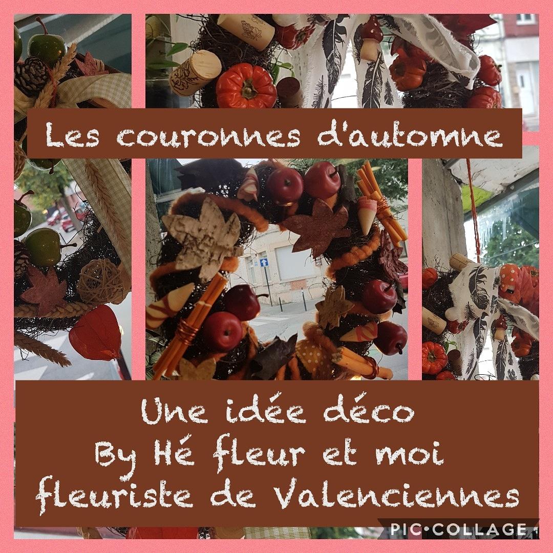 Pour embellir votre maison, décorez votre porte ou votre fenêtre avec une couronne d'automne by hé fleur et moi fleuriste de Valenciennes