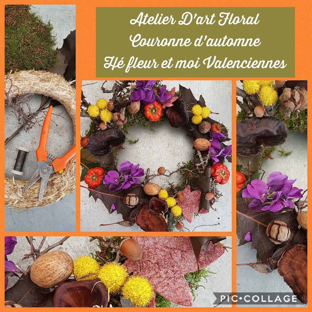 Valenciennes fleuriste art floral couronne d'automne