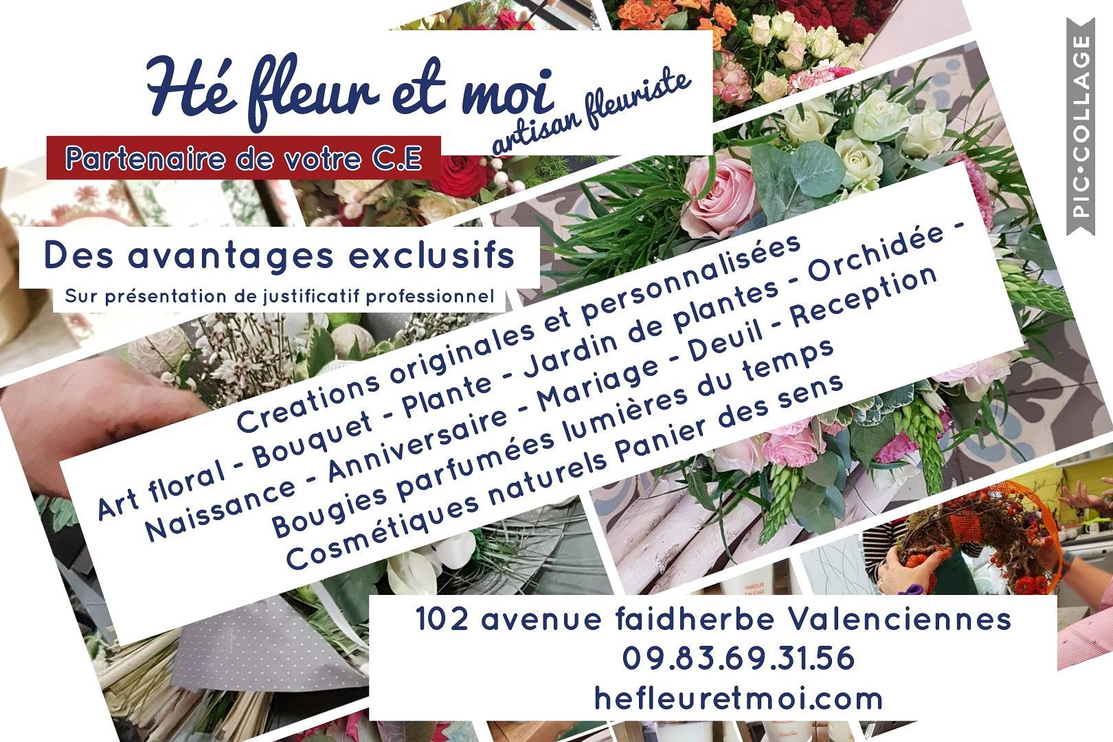 Valenciennes Nouveauté partenariat comité d entreprise Votre Comité d'Entreprise est partenaire ou futur partenaire de Hé fleur et moi fleuriste de Valenciennes? Vous pouvez bénéfi