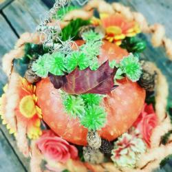 Art floral Valenciennes Hé fleur et moi fleuriste atelier décor citrouille