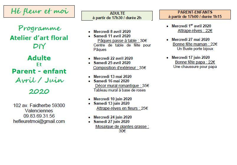 Programme atelier d art floral 2020 avril Valenciennes Denain Marly Petite foret La Sentinelle Anzin