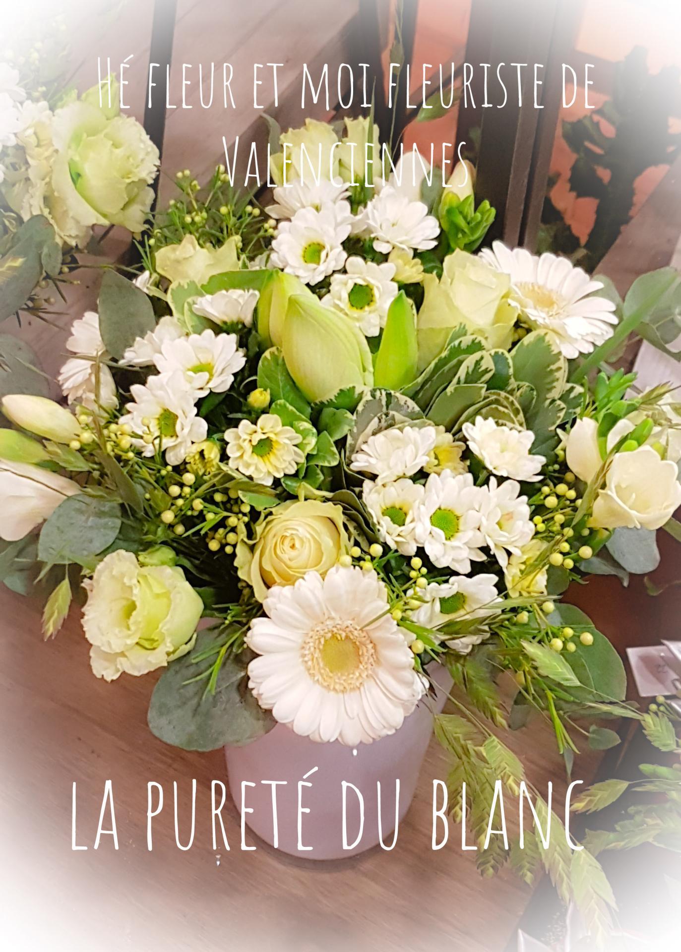 Bouquet blanc fleuriste de Valenciennes Hé fleur et moi fleuriste de Valenciennes