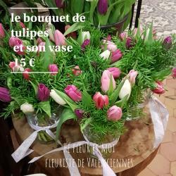 Le bouquet de tulipes et son vase chez hé fleur et moi fleuriste de Valenciennes bouquet