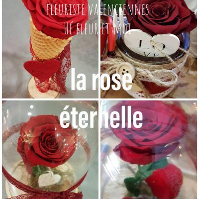 La rose éternelle chez hé fleur et moi Sous cloche style la Belle et la Bête Dans son pavé de verre  Dans son cornet patissier parce ce que l'amour est la plus belle des gourmandis