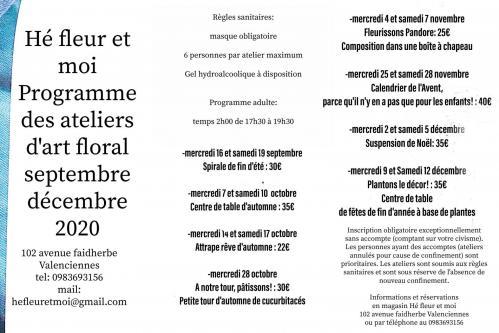 programme septembre décembre 2020 Art floral cours Hé fleur et moi fleuriste Valenciennes