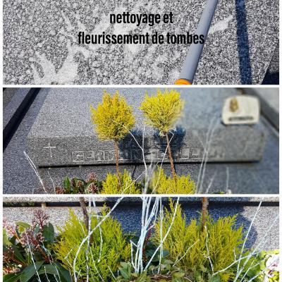 Nettoyage et fleurissement de tombes Valenciennes Anzin La Sentinelle Petite-Foret cimetiere