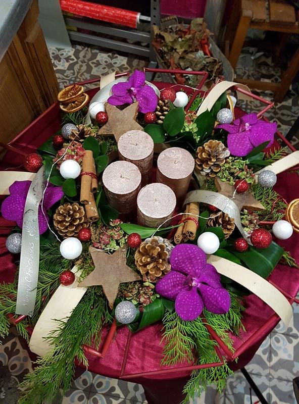 Couronne de l'Avent Noël Hé fleur et moi Valenciennes nord fleuriste